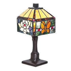 12310 Butterfly Rose Tiffany Style Lamp