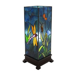 Dragonfly Prairie Stained Glass Uplight Table Lamp