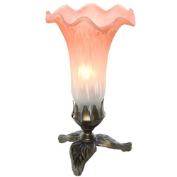 Tiffany Style Orange White lily lamp with leaf base from Flowers, Etc. in Newington, CT