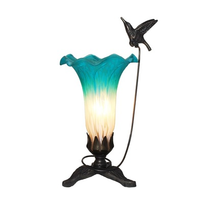 Tiffany Style Teal and White Hummingbird Lily Lamp from Flowers, Etc. in Newington, CT