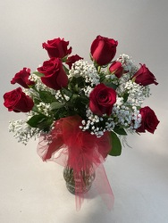 Flowers Etc Dozen Long Stemmed Red Roses Vased