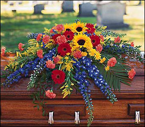 Vibrant Summer Casket Spray from Flowers, Etc. in Newington, CT