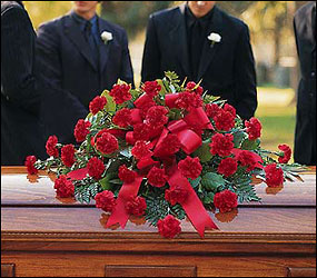 Red Regards Casket Spray from Flowers, Etc. in Newington, CT