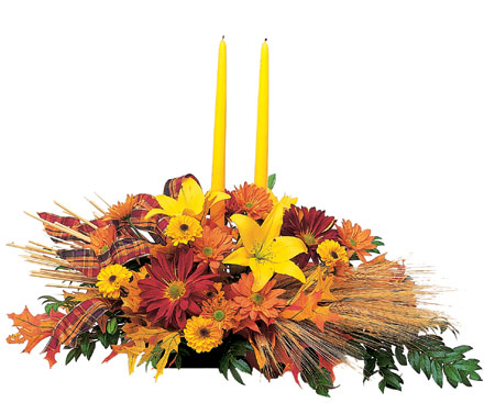 Bountiful Centerpiece with Tapers from Flowers, Etc. in Newington, CT